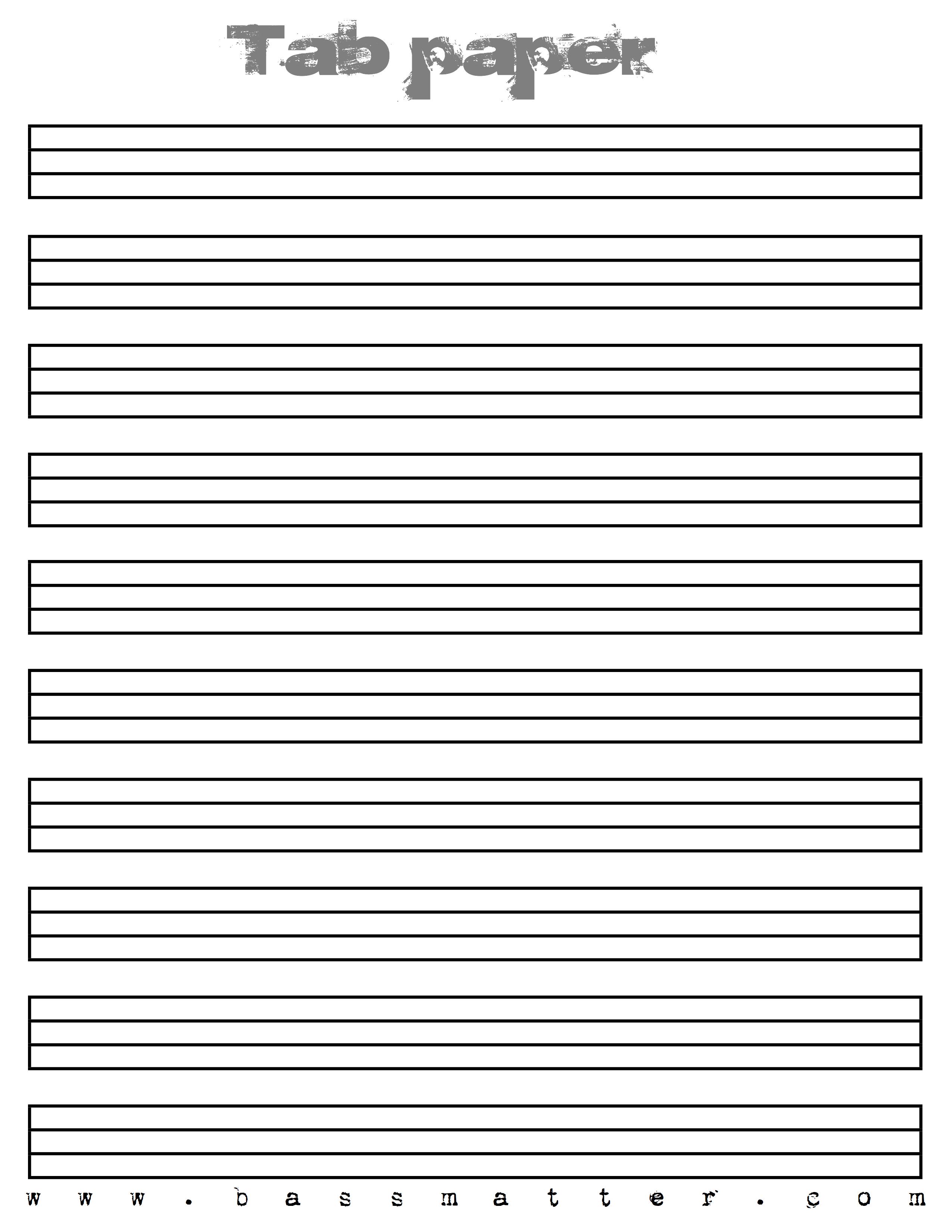 image regarding Tablature Paper Printable named Tab Paper 4 string Spokane B Classes (Spokane and